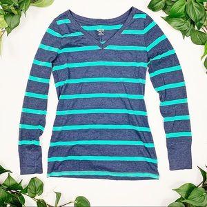 MOSSIMO Blue Long Sleeve V Neck Shirt Sz M